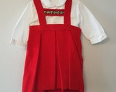 Vintage Girls Red Velvet Lederhosen Dress and White Blouse -Size 3t- New, never worn