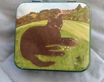 "Precious Black Cat Tin Box-""Nerissa"" Made in England-3 1/2"" X 3 1/4"" Hinged Lid-Vintage"