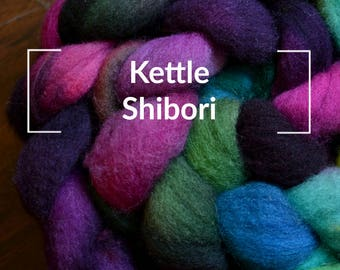 Kettle Shibori Dyed - Kettle Dyed Hand painted Spinning Fiber Tutorial