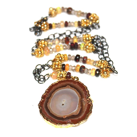 Agate Slice Necklace with Ethiopian Black Opal