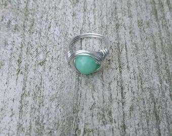 Gemstone ring Jade, Boho ring, Hippiestyle, Wire ring