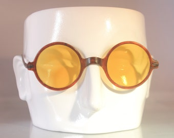 Fantastic 1920s celluloid sunglasses faux tortoiseshell with yellow lens, The Boardwalk