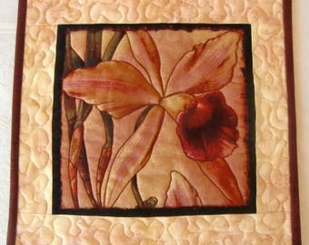 Quilted Orchid Mug Rug, Floral Snack Mat, Orchid Flower Mini Quilt, Candle Mat, Gift for Her, Home or Office décor, Pink Gold Burgundy