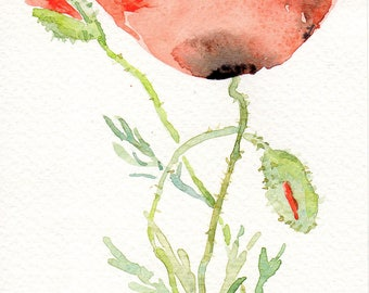 Poppies, 4x6 original watercolour painting, coquelicots Small format