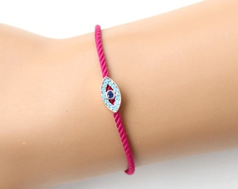 Evil eye bracelet, turkish eye, fuchsia bracelet, fashion jewelry, adjustable bracelet, christmas gift, rose gold, evil eye jewelry