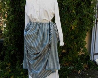 French Vintage , Antique Clothing, Chore Womans  Indigo White Stripe , French Workwear, 19th Century Clothing, Film Props