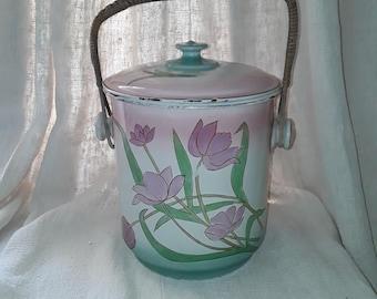 French Vintage, French Enamelware, Enamelware,  Granite Ware, Enamelware Pail, Wastepaper Bin , Floral Enamelware, Shabby Chic , France Deco