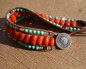 Orange Coral Leather Cuff Bracelet