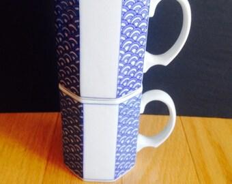 SALE! vintage blue & white coffee mugs