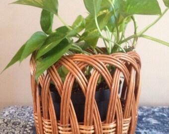 vintage rattan planter basket / Boho