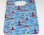 Adult Bib /Clothes Protector - Reversible Adult Bib - Cotton Terry Cloth  -  Bib With Light Houses  - Unisex - Blue