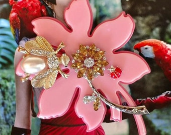"""Handmade Nan-Made large dazzling flower brooch with crystal flower and fancy Bumble Bee and Lady Bug. 4"""" X 4"""" of PINK deliciousness. :)"""