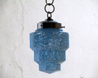 French Art Deco SKYSCRAPER Light Fixture 1930s Light Blue Mottled Glass - Great for Smaller Spaces-Authentic Fittings and Shade
