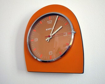 Orange KIPLE French 1960s-70s Formica Clock-Atomic Age Wall Clock-Formica Vintage Clock-Orange Clock-Mod Futuristic Shape-Good Working Order