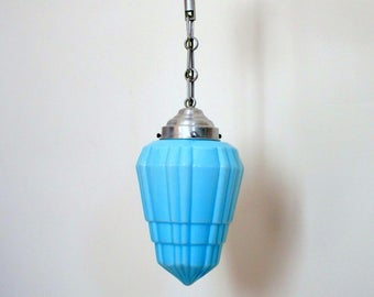 French Art Deco Geometric SKYSCRAPER Hanging Light Fixture 1930s - Gorgeous Light Blue - Amazing Details - French Art Deco