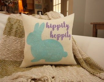 New for 2017! Burlap Pillow / Easter Decor / Easter Pillow / Hippity Hoppity