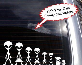 Pick Your Own Alien Stick Figure Family Vinyl Decal - fits laptops, car windows and any smooth surface