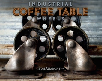 4 Industrial Casters, Vintage Coffee Table Caster Wheels