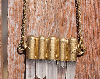 Raw Crystal Quartz points necklace