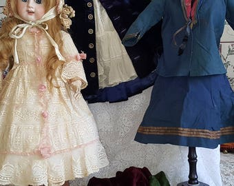 REDUCED Antique French Doll tons of accessories, Clothing, Original Sailor Dress, and Rare Items Including Antique Metal Doll Hoop