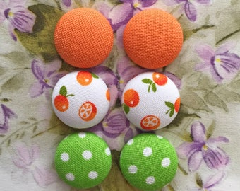 Fabric Covered Button Earrings / Set of 3 / Wholesale Jewelry / Handmade Gifts / Hypoallergenic Studs / Retro Accessories / Green and Orange