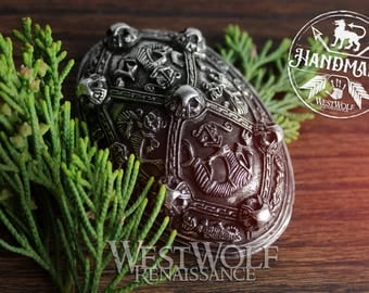 "Viking Tortoise Brooch with ""Gripping Beasts"" -- Norse/Silver/Wolf/Wolves/Odin/Domed/Oval/Pin"