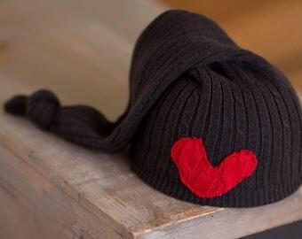 Black and Red Newborn Hat Valentine Hat Upcycled Newborn Hat Newborn Boy Hat Neutral Newborn Hat Newborn Photography Prop READY TO SHIP hat