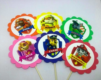 Paw Patrol Cupcake Toppers,  Marshall, Chase, Rubble, Skye, Rocky and Zuma- Birthday Party-Set of 12