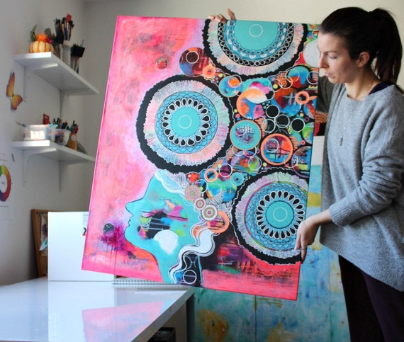 HYPER - large original acrylic painting, wall art large portrait, hippie art, layered, intuitive, mandala, dripping paint, surreal portrait