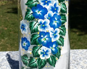 Vase Hand Painted Blue and White Flowers, Spring Decor, Wedding Shower Gift, Birthday Gift, Housewarming Gift, Gift Ideas