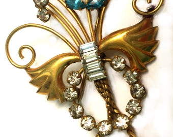 Vintage DeCurtis Brooch, 1/20 Gold, 12K, Turquoise Blue Navette Rhinestones, Clear Baguette Fobs, Something Blue