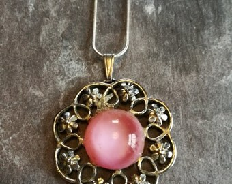 Upcycled vintage pink stone pendant, silver colour flower necklace, new silver plated chain added.