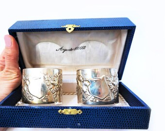 Vintage Set of Two Italian Silver 800 Napkin Holders, Silver Napkin Rings Set, Italian Boxed set Serviette Holders,Wedding Table Decor