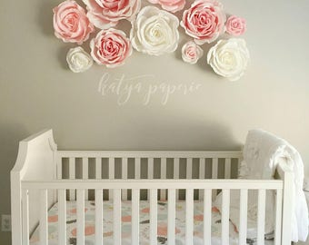 Nursery wall paper flowers. Paper flower wall display. Shop window crepe paper flowers. White and pink garden party decor Giant paper flower