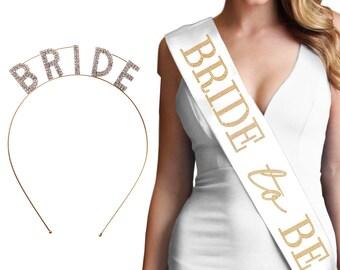 Luxe Gold Bride Set -  Sash sash & Rhinestone Bride Headband,  Bride Gift, Bridal Shower Gift, Bachelorette Party Sash, Bachelorette tiara