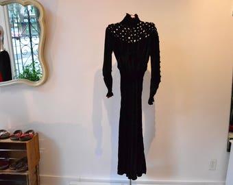 Magnificent Edwardian Mourning Dress. Silk Velvet 1900s latice, bias cut, gathered sleeves. AMAZING! FREE SHIPPING