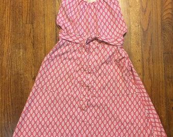 Delta Uniform 80s stewardess Pat Ashley pink delta widget pattern apron wrap dress Airlines collectables