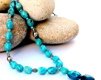Turquoise Jewelry - Kingman Turquoise necklace, Kingman Turquoise, genuine Turquoise necklace, Turquoise necklace, real Turquoise, free ship