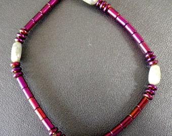 Natural Green Kyanite Stretch Bracelet with Pink Orange Hematite