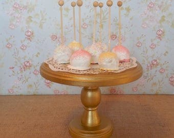 """8"""" Wood Cake Stand / Cake Pop Stand / Gold Cake Stand / Rustic Dessert Stand / Beveled Edge"""
