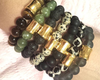 PICK 1- WOMENS 10mm Gemstone Gold Column Accent Bead Stack Boho Chic Stretch BRACELET Jewelry Fashion Bling Trend Style Fall Gift Wholesale