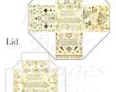 Victorian Sampler Printables of Needlework and Embroidery, PARTY FAVOR BOX and Lid Template,  2 Inch Cube (50mm)