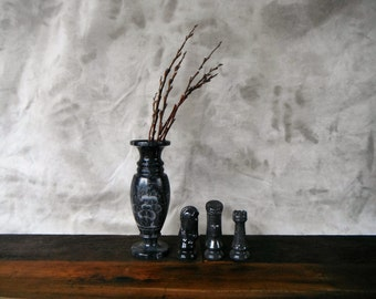 Etched Black Marble Vase