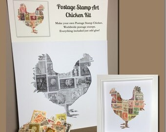 Chicken Postage Stamp Art Kit