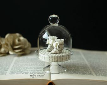 Tiny Paper Shoes in a Bell Jar - Miniature Paper Art