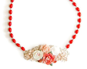 Coral Flower Necklace, Vintage Collage Necklace, Floral Statement Necklace, Bridesmaid Bib Necklace, Shabby Chic Necklace,  Bib Necklace