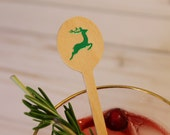 Reindeer Christmas Wooden Coffee or Drink Stirrers in Red, Green or Gold Foil