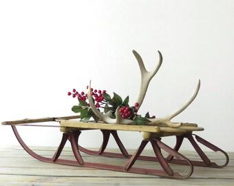 Vintage Wooden Sled, Antique Childs' Sled, Tabletop Sled, Christmas Decor | BoulderBlueStudio