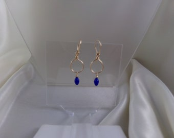 Blue glass 14k gold filled earrings MLMR handmade item 894