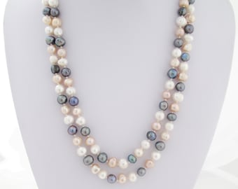 Long pearl necklace, hand knotted with large pearl, pearl statement necklace, Elegant Freshwater Pearl Necklace